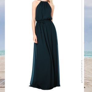 #LEVKOFF Chiffon Halter Dress in Navy 7037 sz 12